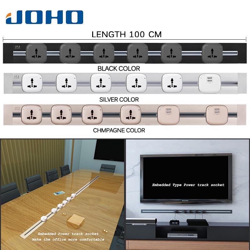 JOHO en vente combinaison gratuite 100 cm Tomada Usb prise murale Eu prise murale 2 Ports USB bureau cuisine prises
