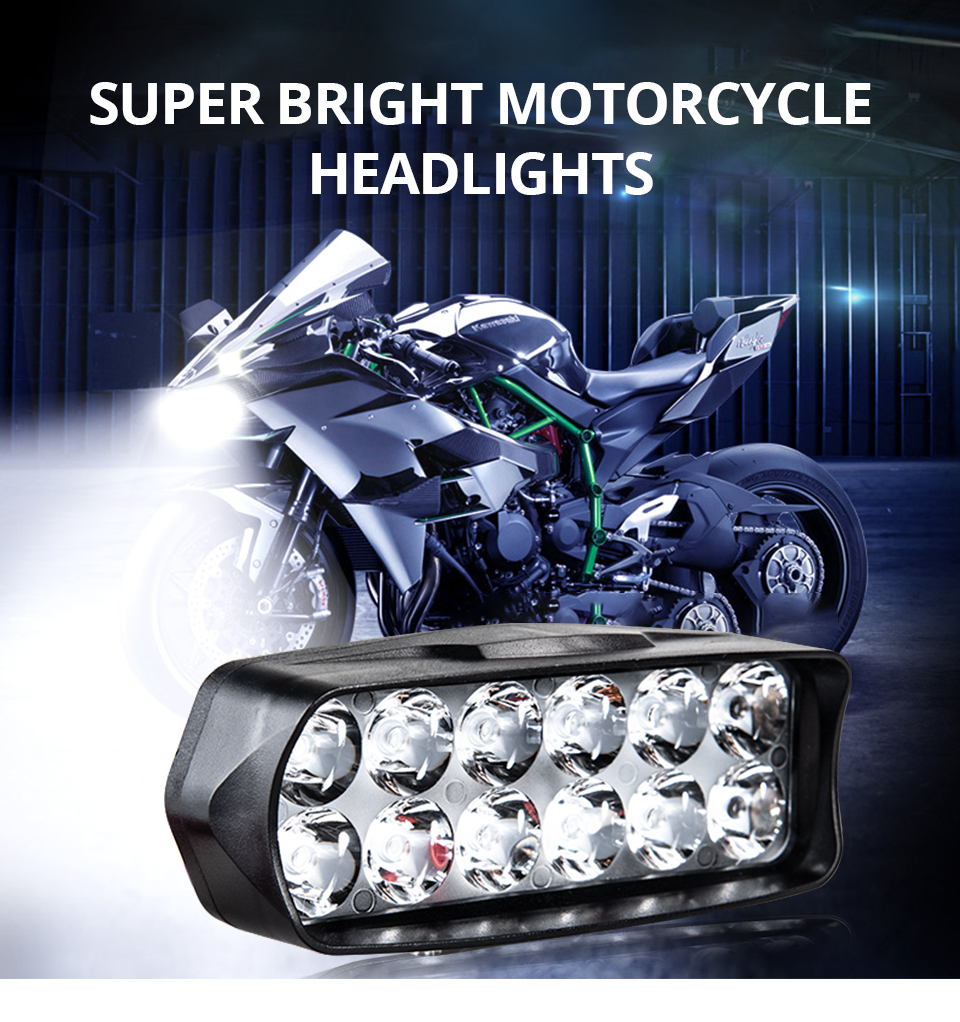 Universal Motorcycle Headlight LED 12W 18W 24W DC 9-85V LED Headlight Motorbike 8 12 16LEDs Samsung Chip Work LED Headlights  (1)