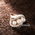 Jenia Brand Design Charming Gold Plated White Enamel Three Simulated Pearls Ring For Women And Men (XR205)
