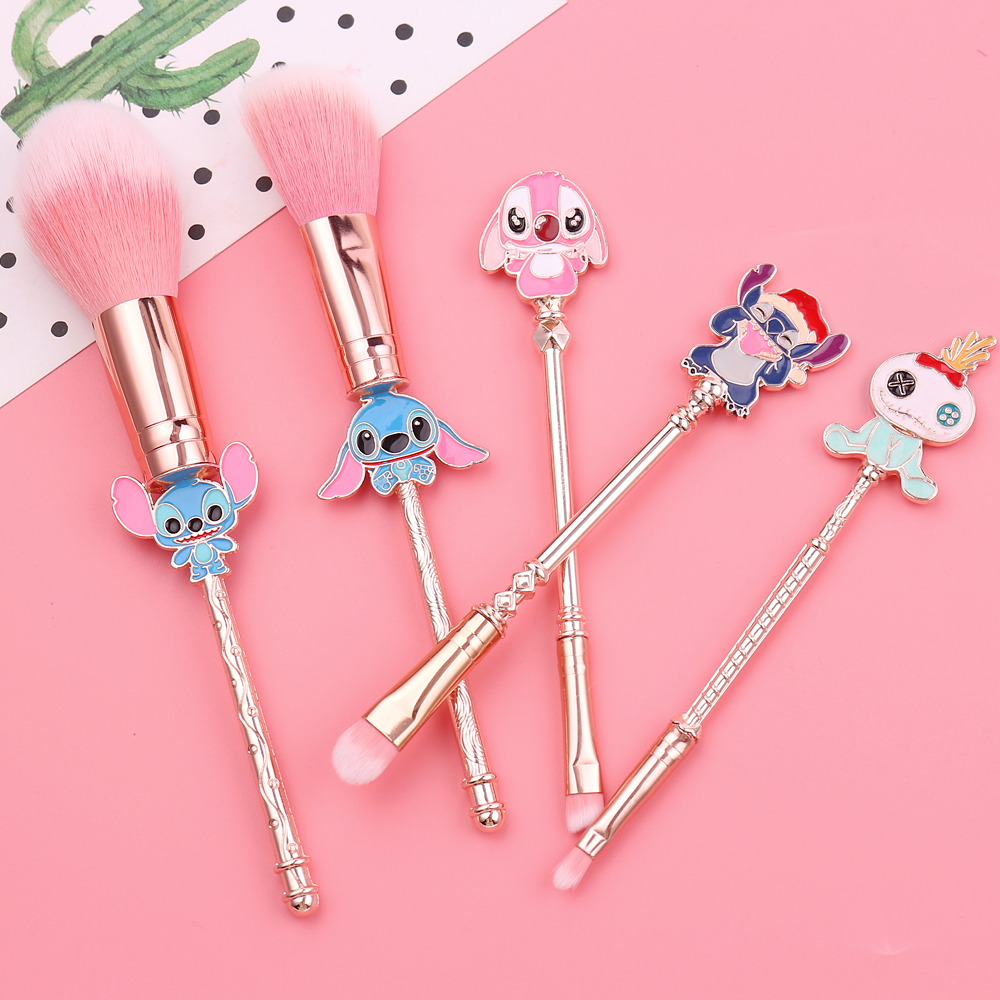 Newest Cartoon Lilo and Stitch Makeup Brushes Set Cute Stitch Pandent Gifts Foundation Cosmetic Eyeshadow Eyebrow Brush Pincel
