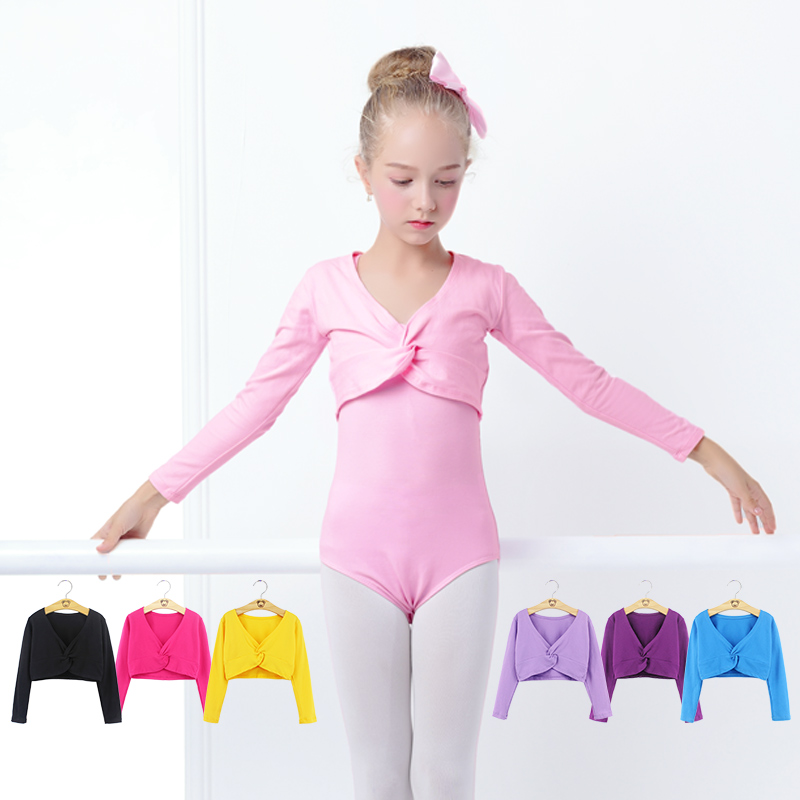 Girls Ballet Crop Tops Dance Leotards Coat High Waist Ballet Clothes Children Long Sleeve Gymnastics Leotard Overall 7 Colors