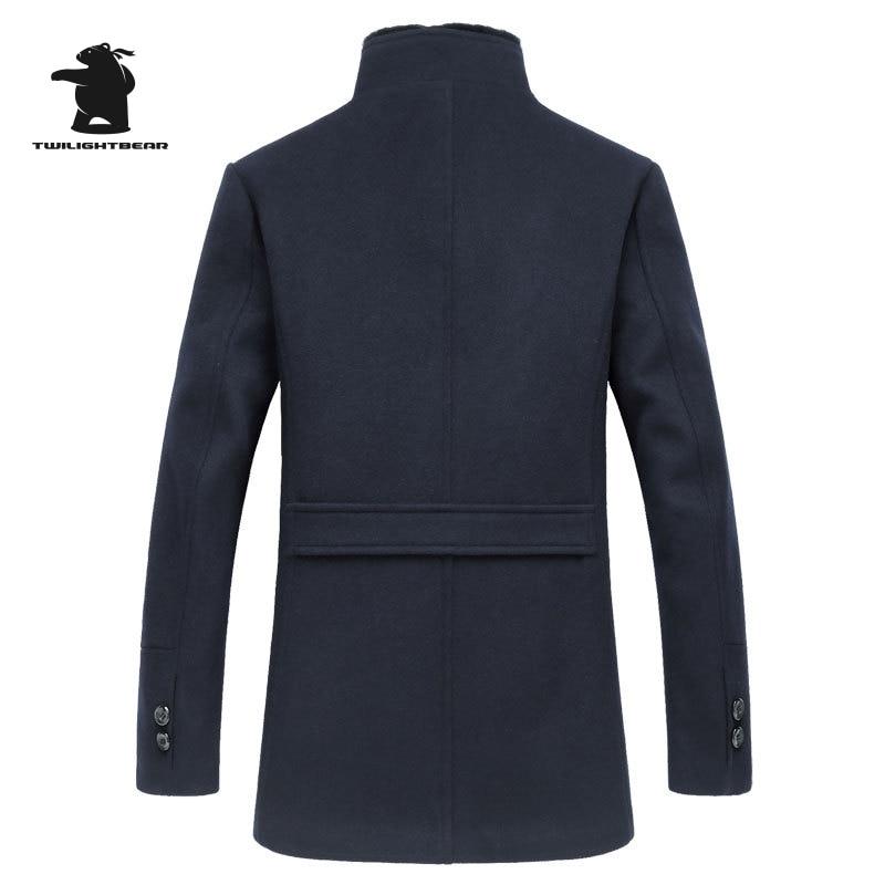 Brand Mens Long Single Breasted Woolen Coats Winter Thicken Male Wool Jackets Fur Collar Wool Blends Men Overcoat 3XL BF1807
