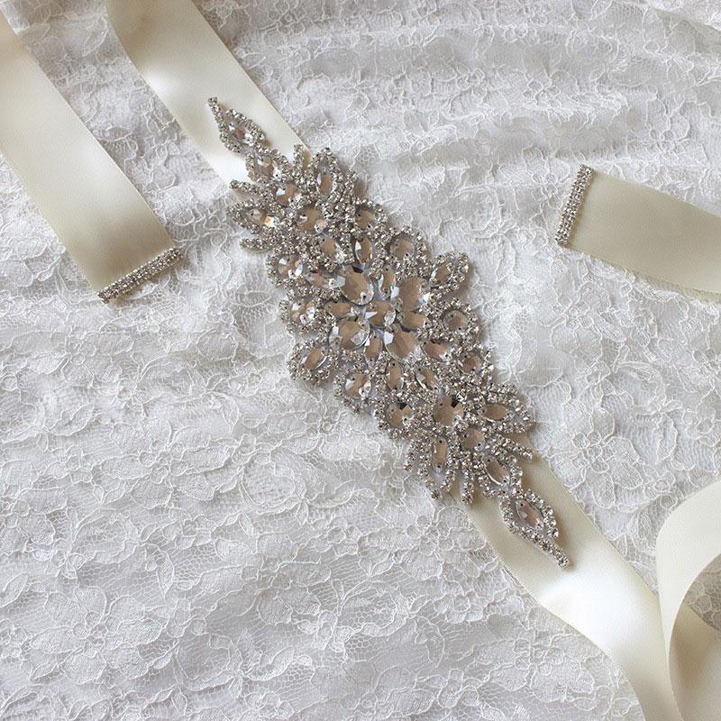 Women New Hot Deluxe Rhinestone Bridal Sash Waist Belt Satin Ribbon Wedding Bride Dress Crystal Beaded Costume Belt Accessories