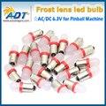 100 ШТ. бесплатная доставка красный цвет #44 #47 Ba9s Штык База Лампа AC DC 6.3 В пинбол led лампы