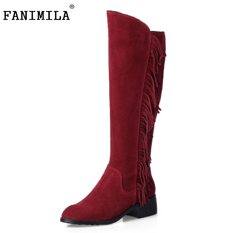 Women Real Genuine Leather Low Heel Knee Boots New Fashion Round Toe Tassel Botas Warm Winter Footwear Shoes Size 33-46