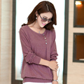 2015 Korean New Style Spring Autumn Women Tops Big Size Loose Casual Long Sleeve T shirt Plus Size S-3XL  DX216
