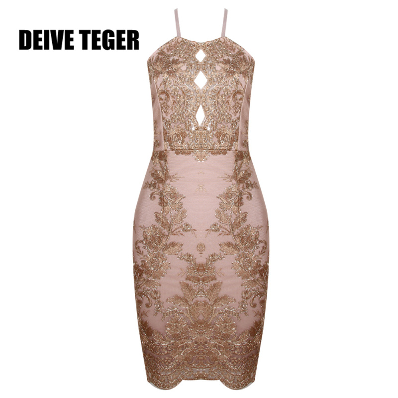 DEIVE TEGER  Women Spaghetti Strap Hollow Gold  Luxury Embroidery Retro Floral  Lace summer Sexy Mini Dress Evening HL2413