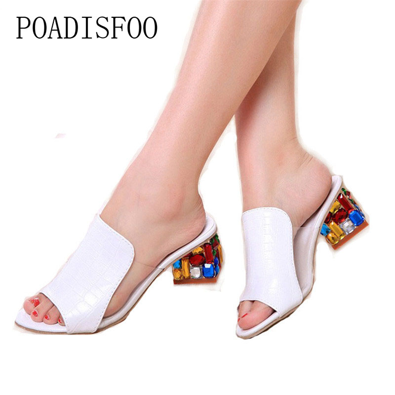 POADISFOO Women Sandals 2017 Ladies Summer Slippers Shoes Women high Heels Sandals Fashion Rhinestone summer shoes new .HYKL-818  poadisfoo 2017 new summer style slip on women sandals flats for women black white color slippers shoes women hykl 1603