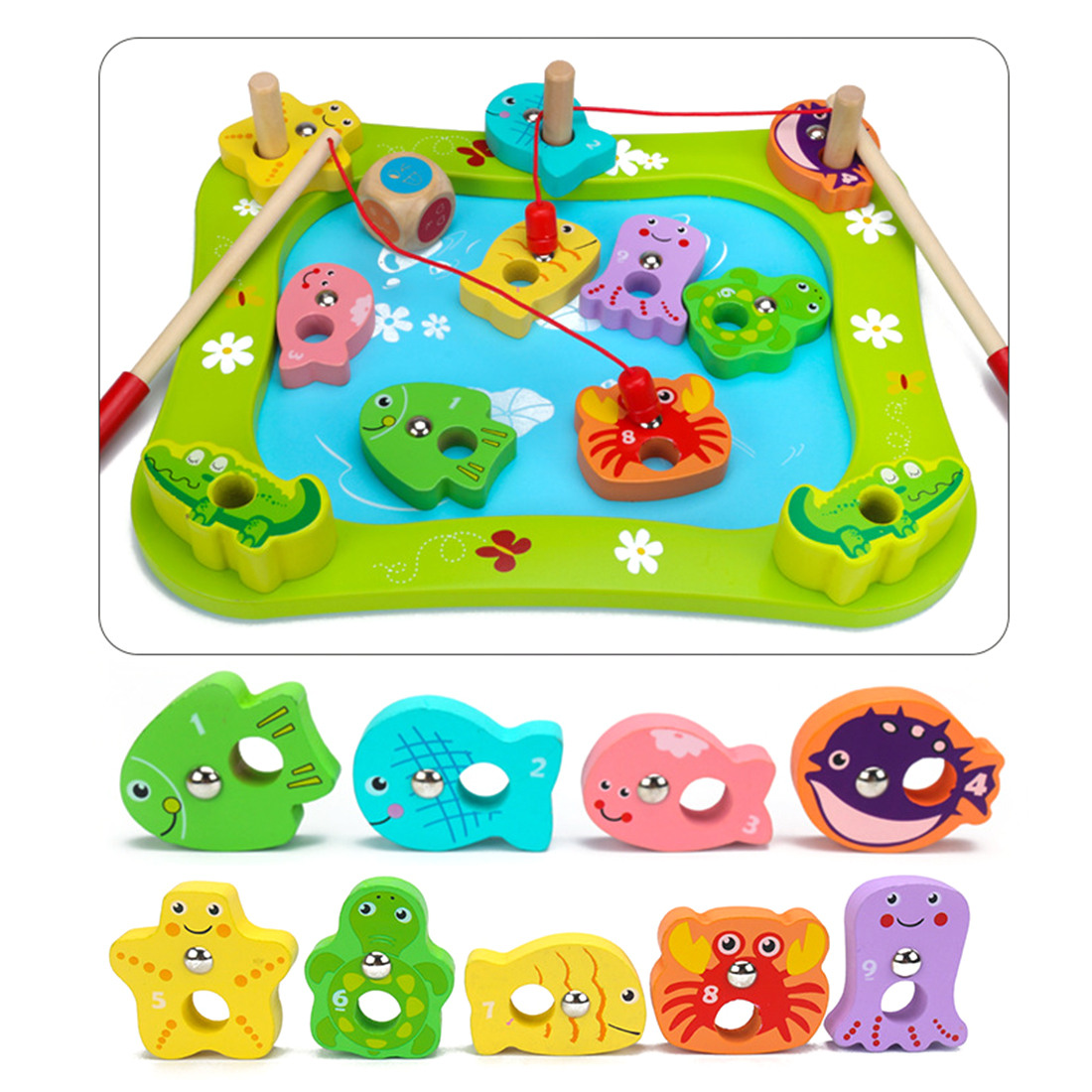 New Hot Children Pretend Play Preschool Toy Fishing Set With Magnetic Pole And Wooden Board Baby Educational Toy