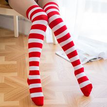 Christmas Winter Knee High Socks Women Elasticity Kawaii Girls Candy Color Striped Long Thigh Highs Sock Stockings