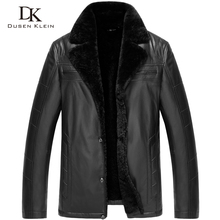 Brand Men Genuine Leather Jacket Woolen Liner and Collar Sheepskin Black/Brown/Slim/Business Style Winter Coat 15J5811