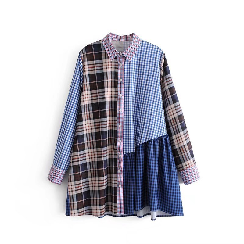 [AZURE SHEN] 2018 New Summer lapel single breasted splice color blouse Patch stitching long sleeve loose dress women QC679