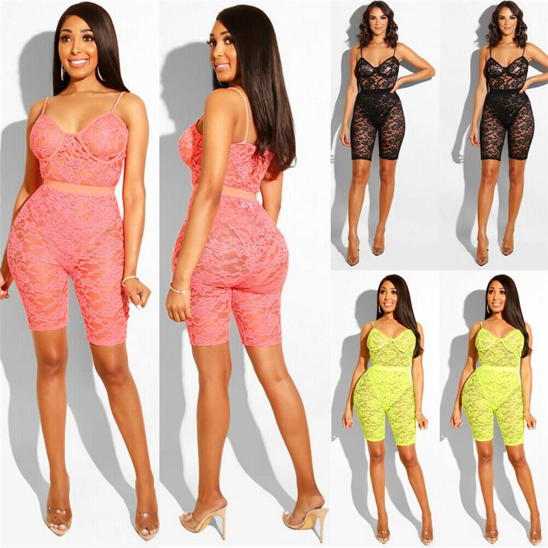 2019 New Sexy Women Lace Short Sleeve Solid Hollow Out Bodycon Jumpsuit Playsuit Clubwear