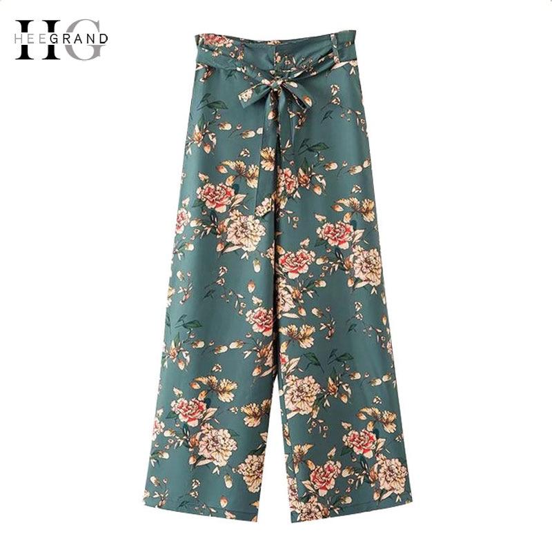 HEE GRAND Women's   Wide     Leg     Pants   Print   Pants   2018 Summer Soft Full-length   Pants   High Waist Loose Women Trousers Dropship WKX461