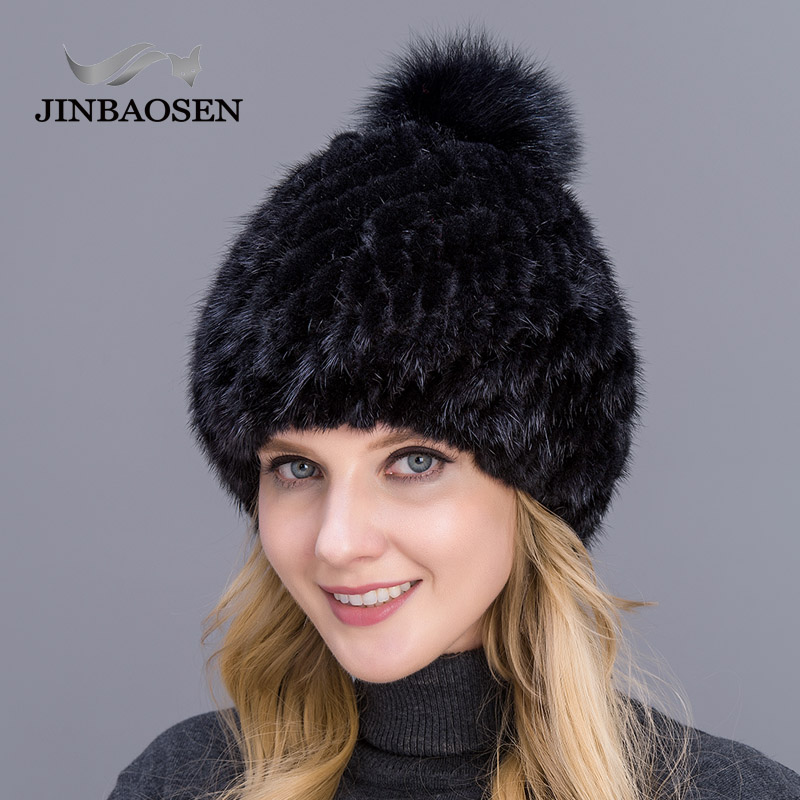 JINBAOSEN 2019 New Thick Female Hat Hot Sale Real Mink Fur Hat Ladies Winter Knit Water Hat With Fox Fur Pompoms