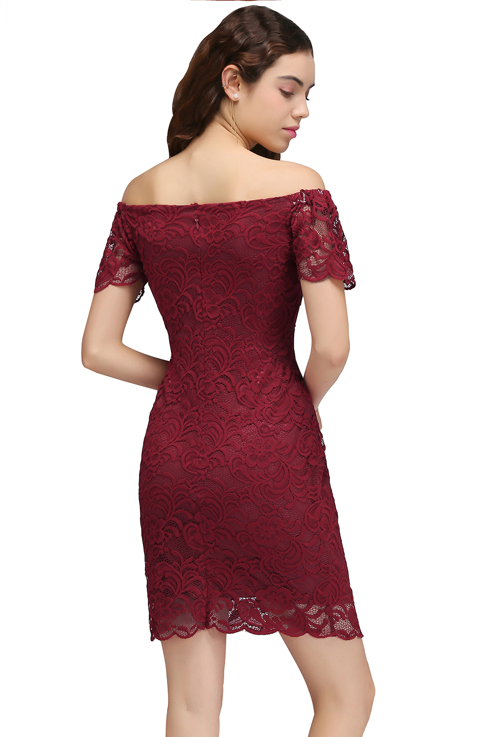 862b1dc44bcf7 US $20.28 29% OFF 2018 Burgundy Lace Off the Shoulder Bodycon Cocktail  Dresses Sexy Short Prom Dresses Party Dress Gowns -in Cocktail Dresses from  ...