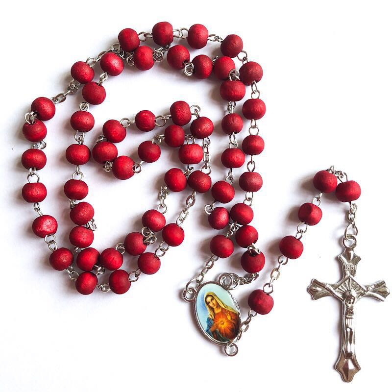 6 7mm red wood bead rosary religious perfume rosary necklace virgin mary centerpiece with rose scent
