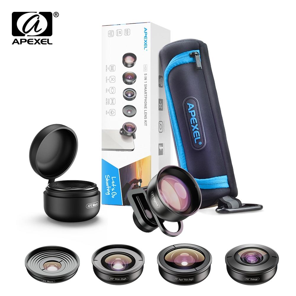 APEXEL HD 5 en 1 objectif de téléphone caméra 4K objectif Macro large Portrait objectif Super Fisheye filtre CPL pour iPhone Samsung tout téléphone portable