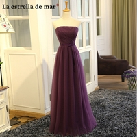 Robe demoiselle d'honneur pour femmeSALE tulle strapless A Line purple bridesmaid dresses long cheap wedding party dres