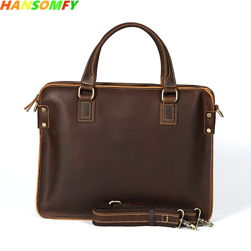 New 15 Laptop Crazy Horse Leather Men Business Bag Top Layer Leather Retro Briefcase Leather male Shoulder Messenger Bags designer second layer crazy horse leather briefcase men messenger shoulder bag laptop bag maletin hombre negocios bookbag b00021