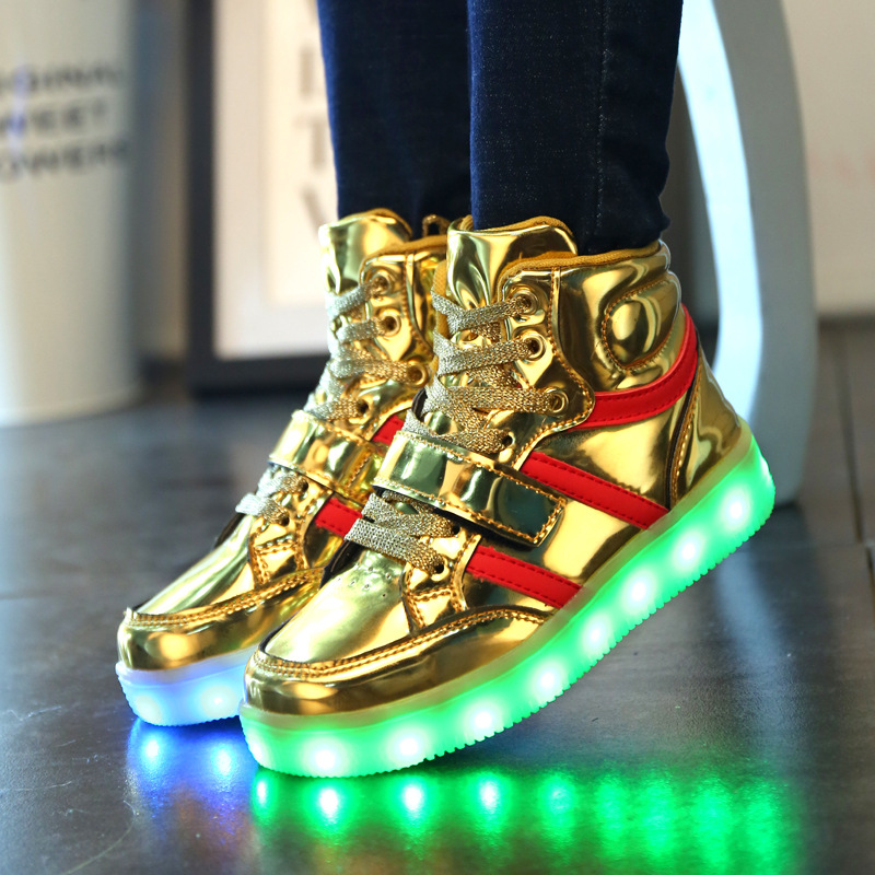 Children Shoes With Light Chaussure Led Enfant High Top Girls Glowing Sneakers Luminous Usb Kids Led Shoes With A Usb Charging
