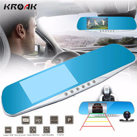 Kroak 4 3 1080P HD Rear View Mirror Dual Lens Car DVR Dash Camera Recorder Night