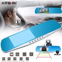 """Kroak 4.3 """"1080 P HD зеркало заднего вида Двойной объектив Видеорегистраторы для автомобилей тире Камера Регистраторы Ночное видение 170 градусов"""