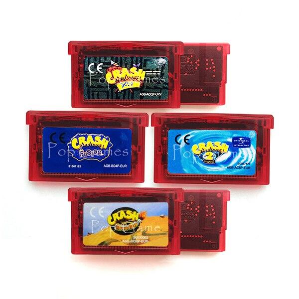 Crash Bandicoot Series N-Tranced Fusion XS Nitro Kart 32 Bit Video Game Cartridge Console Card Handheld Player EU Version