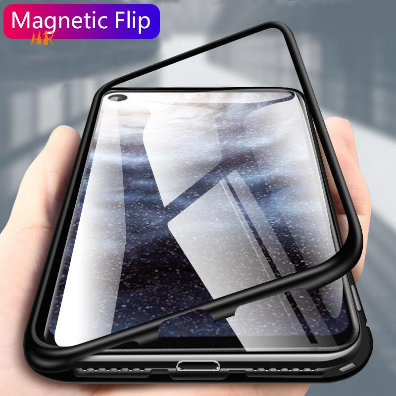 US $2 14 26% OFF|Magnetic Flip Case For Samsung Galaxy A8s A9 Pro 2019 Case  Clear Glass Metal Back Cover Coque For Samsung Galaxy galaxy C7 C9 S9-in
