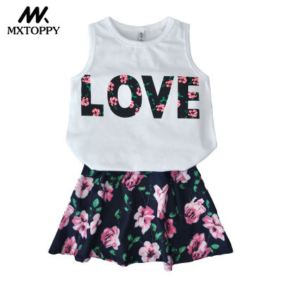 2018 New Summer Casual Children Clothing T-shirt+Flowers Skirt Girls Clothing Sets Kids Summer Suit For 3-8 Years
