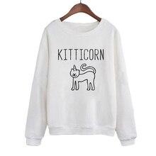 цена на Women Pullover Harajuku Printing Round-neck Hoodies Kitticorn Kitten Sweatshirt Hipster Cute Animal Lover Sweatshirt
