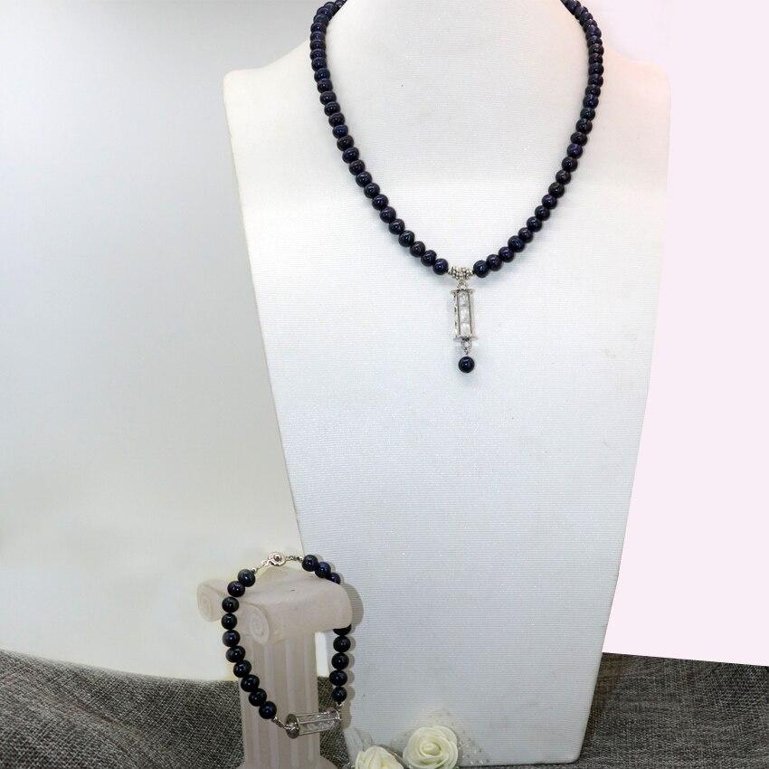Projeto Original preto natural cultivadas de água doce pérola beads 7-8mm  colar pulseiras presentes pingente de alto grau de jóias B2924 5c4fbd0244