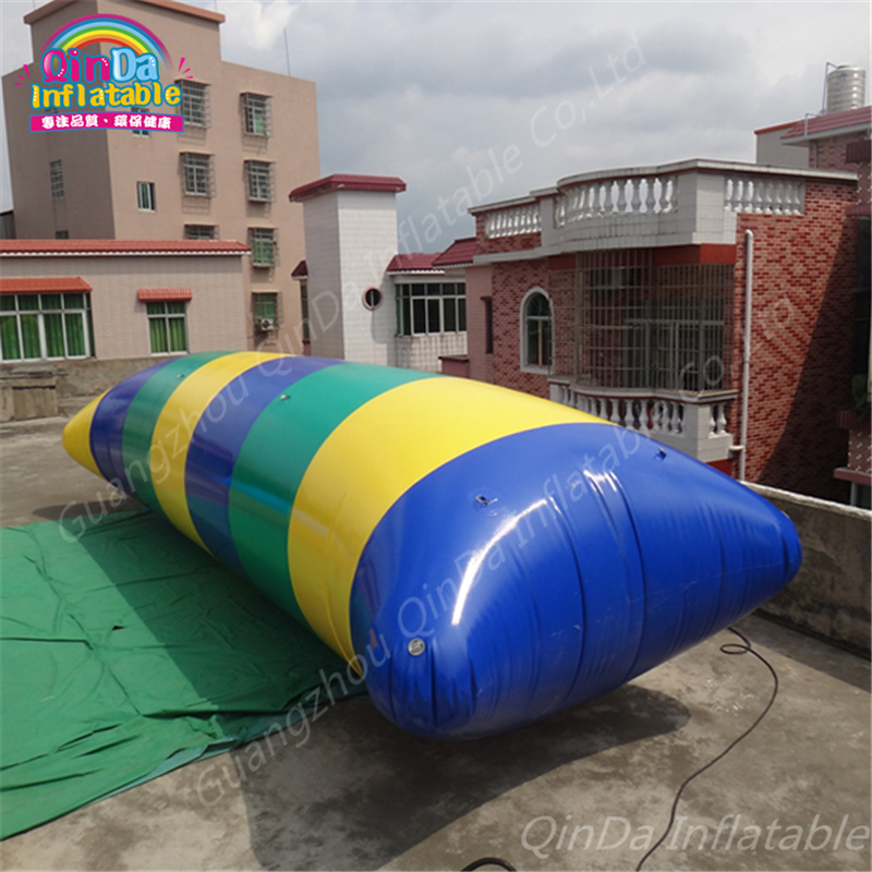 China manufacturers air bouncer inflatable trampoline, Inflatable Water blob inflatable water catapult,jumping air bag lake or ocean inflatable funny water sports game water trampoline with air pump and repair kit