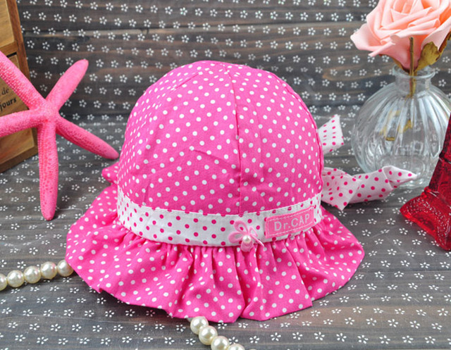 b89c065b774 2018 Kids Toddlers Baby Girls Sun hat Polka Dot Flower Bucket Cap Infant  Bowknot Pearl Panama panama hat Free   Drop shipping