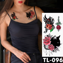 цены Water Transfer Black cat red lace rose Temporary Tattoo Sticker totem Pattern body art Waterproof Fake Flash Tattoo for women