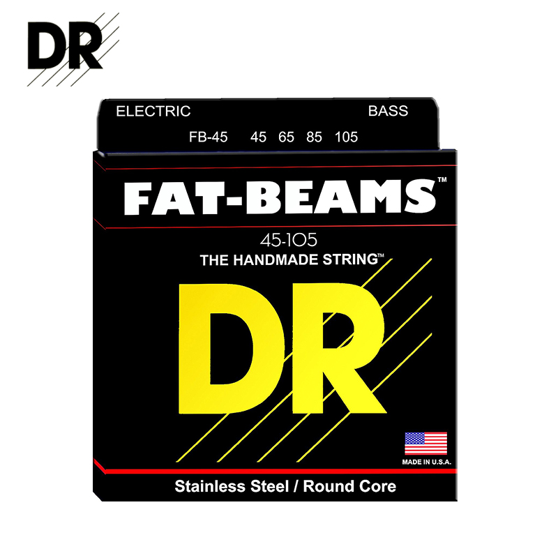 Original DR Strings FB-45 Fat-Beams Bass Strings Medium 45-105 Stainless Steel Electric Bass Strings dr strings nmcb 40 nmcb 45 nmcb5 45 dr k3 neon bass guitar strings light multi color
