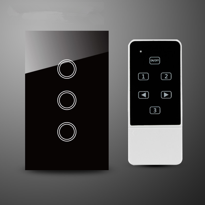 3 gang 1 way Remote Control Light Switch and  US Standard Touch Screen Glass Panel, Black wall switch,RF 433Mhz, remote switch wall light free shipping 3 gang 1 way remote control touch switch us standard gold crystal glass panel led