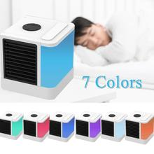 USB Mini Portable Air Conditioner Air Cooling Fan Air Cooler Fan with 7 Colors LED Lights Humidifier Purifier for Office Home
