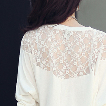 Batwing Casual Cotton and Lace Blouse