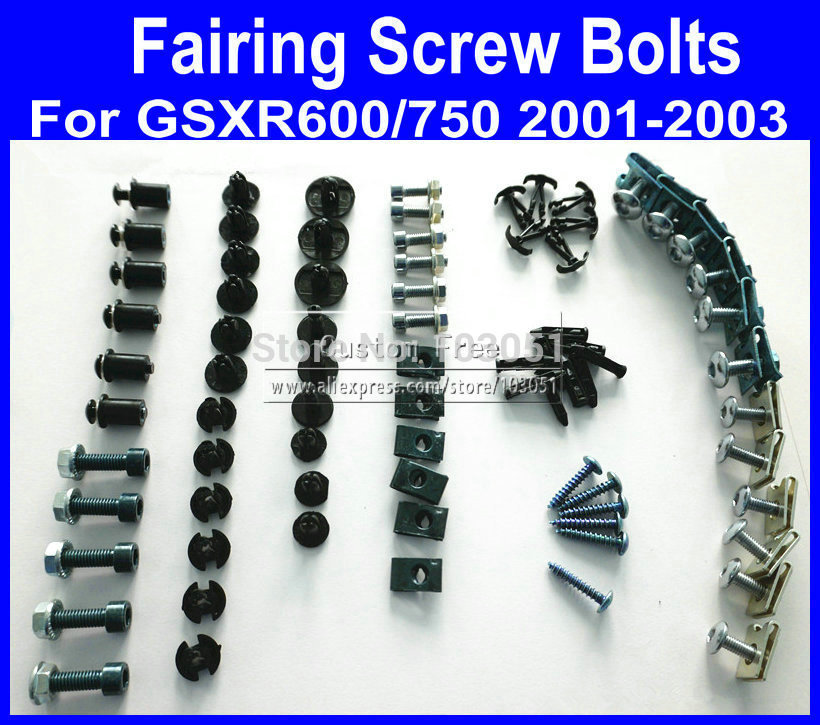 Motorcycle Fairing common screw bolts kit for <font><b>SUZUKI</b></font> <font><b>GSXR</b></font> <font><b>600</b></font> 750 K1 2001 <font><b>2002</b></font> 2003 GSXR600 GSXR750 01 02 03,black fairings bolt image