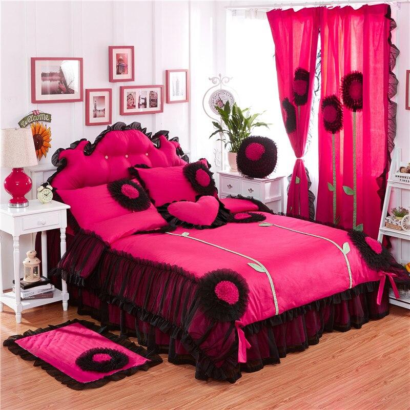 2017 100%Cotton Luxury Lace Dandelion Bedding Set Twin Queen King Size 3/4/6/8Pcs Duvet Cover Set Bedskirt Pillowcases Curtain