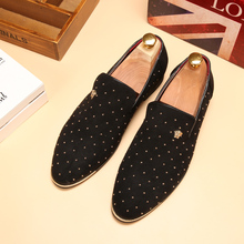 studded italian elegant slip on suede leather men casual shoes