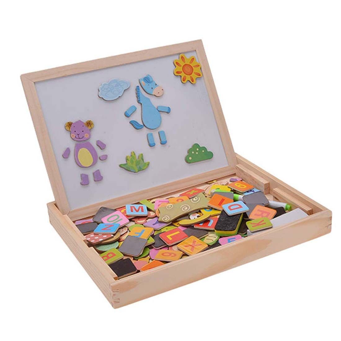 Perfect-Baby Toys Wood Educational Animals Letters Puzzle 3D Magnetic Wooden Drawing Board pilsan puzzle 4x4 animals