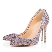 Elegant Purple Glitter Wedding Shoes Bride Pointed Toe Stiletto Heels Sequin Pumps Women Shoes Slip-on Banquet Dress Shoes 12cm недорого