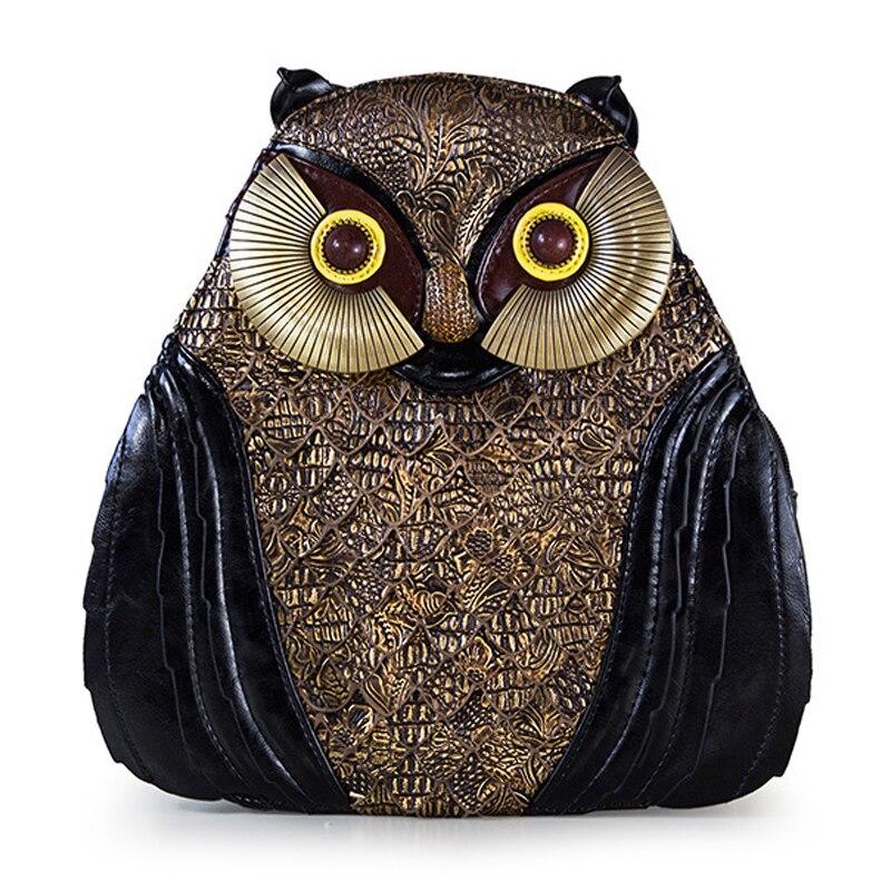 SJ femmes sac à dos en cuir Style Preppy cartable sac de voyage fourre-tout Style Braccialini artisanat Design Art dessin animé 3D hibou rétro