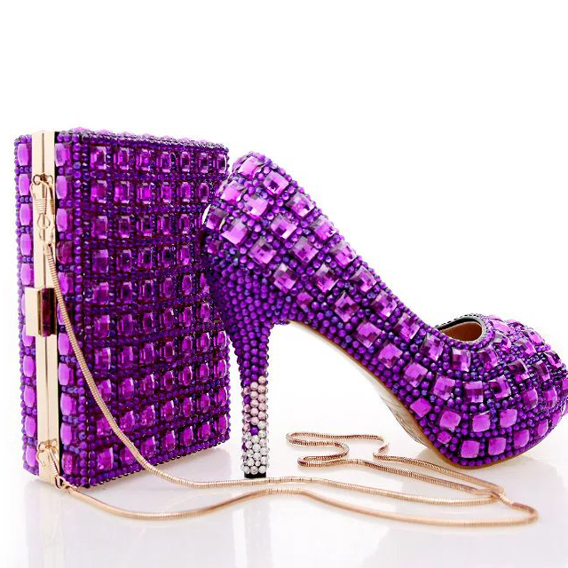 Purple Rhinestone Bridal Wedding Shoes with Clutch Bag Peep Toe Crystal Party Pumps Graduation Party Heels with Matching Bag aidocrystal elegant peep toe shoes with detachable heels colorful rhinestone evening shoes with matching bags
