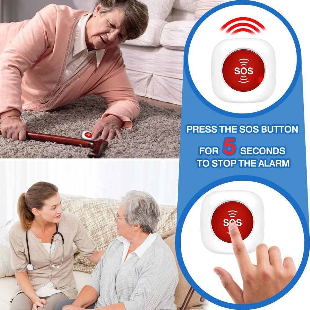 Koochuwah inalámbrico SOS botón de pánico para emergencias ancianos SOS collar alarma de pánico botón alerta de sonido para personas mayores deshabilitado