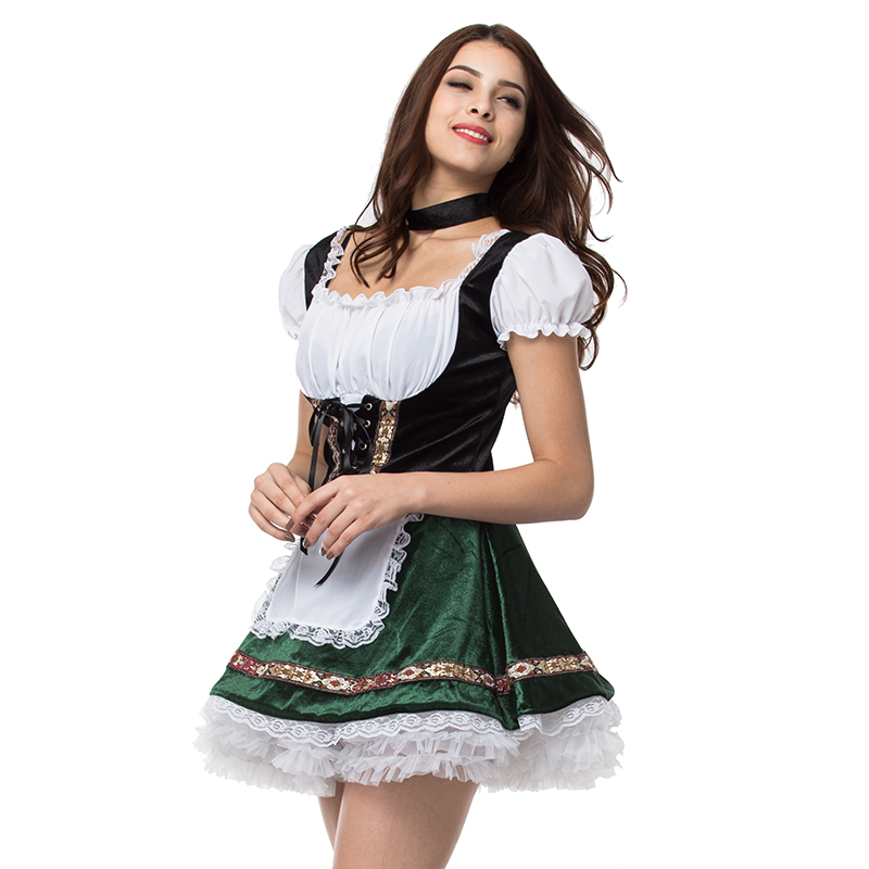 Image 2 - White Green Oktoberfest German Maid Fancy Dress Cosplay Beer Girl Costume Sexy Halloween Costumes For Women Deguisement Adultes-in Sexy Costumes from Novelty & Special Use