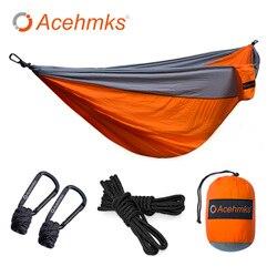 Acehmks hammocks de tamanho grande rede dupla para 2 pessoa dormir cama de acampamento ao ar livre balanço portátil ultraleve design 300*200 cm