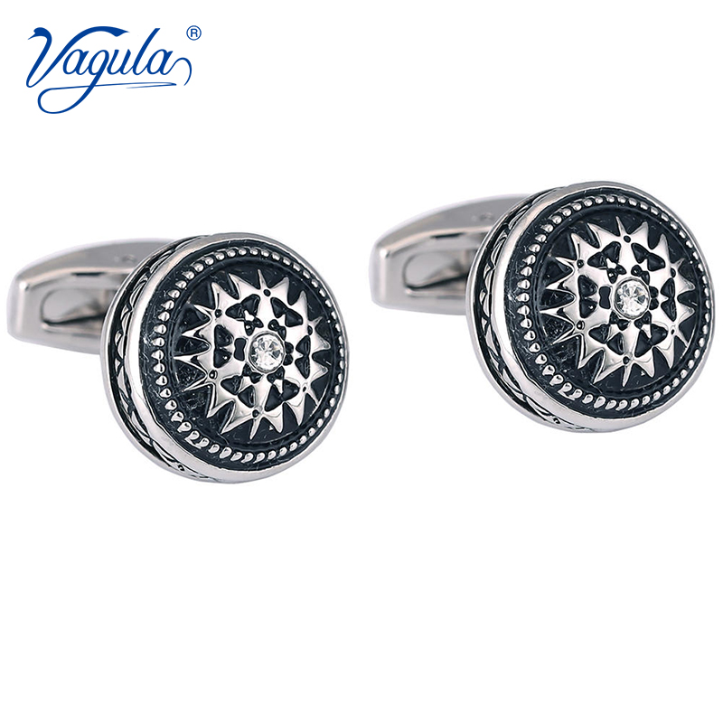VAGULA Gemelos Classic Silver-color Rhineston Copper Black Painting Men's Cufflink Wedding Suit Shirt Buttons Cuff Links 51435